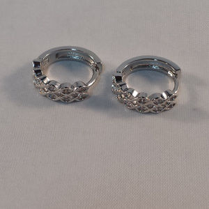 Jewelry - 18K White Gold Wave Zircon Hoop Huggie Earrings GF
